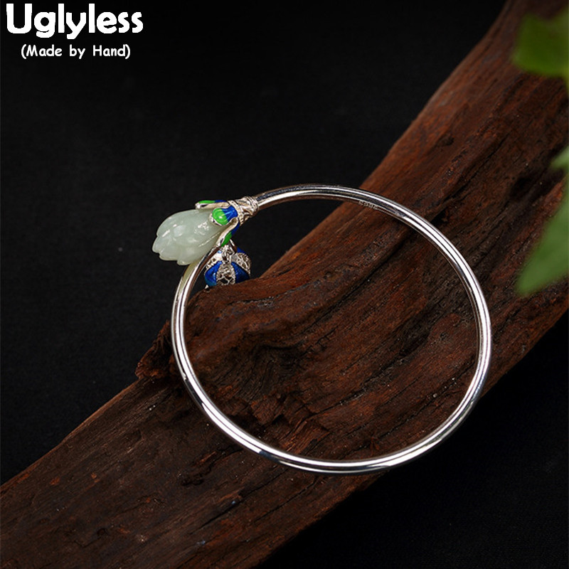 Uglyless Real S 925 Sterling Silver Fine Jewelry Natural Jade Magnolia Bangles Women Handmade Flower Charms Bijoux Enamel Bangle