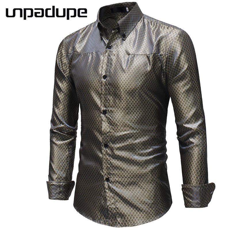 Men Shirt 2018 Brand Shining Men Shirt Small Grid Dress Shirt Long Sleeve Slim Camisa Masculina Casual Male Streetwear Shirts M2