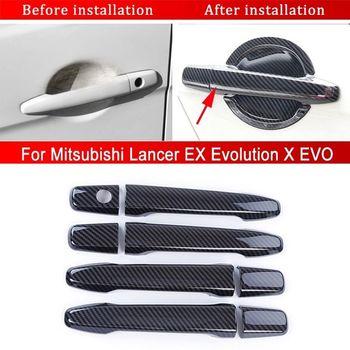 2019 新外装ドアハンドル ABS 炭素繊維ドアハンドルカバー三菱ランサー Ex エボリューション X EVO 2008- 2016-2017 8 個