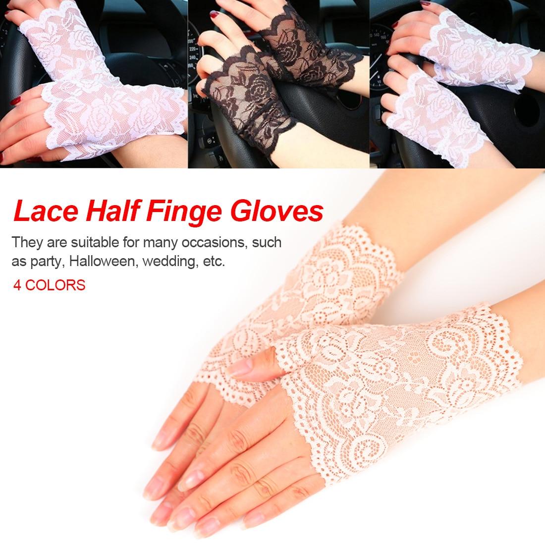 Winter White Black Ladies Half Finger Fishnet Gloves Heated Mesh Mitten Gants Femme Long Fingerless Womens Sexy Lace Gloves