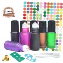 12 Pack 5ml Glass Roller Bottles Essential Oil with Stainless Steel Ball (2 Dropper 2 Funnel 192 Label Opener)