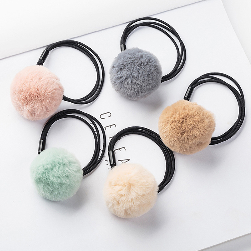 LOEEL 5Pcs Lot Korean Headdress Girls Big Hair Ball Hair Band Hair Rope  Lovely Plush Hair Accessories Rubber Band Head Bands New-in Hair  Accessories from ... fec1acba32c