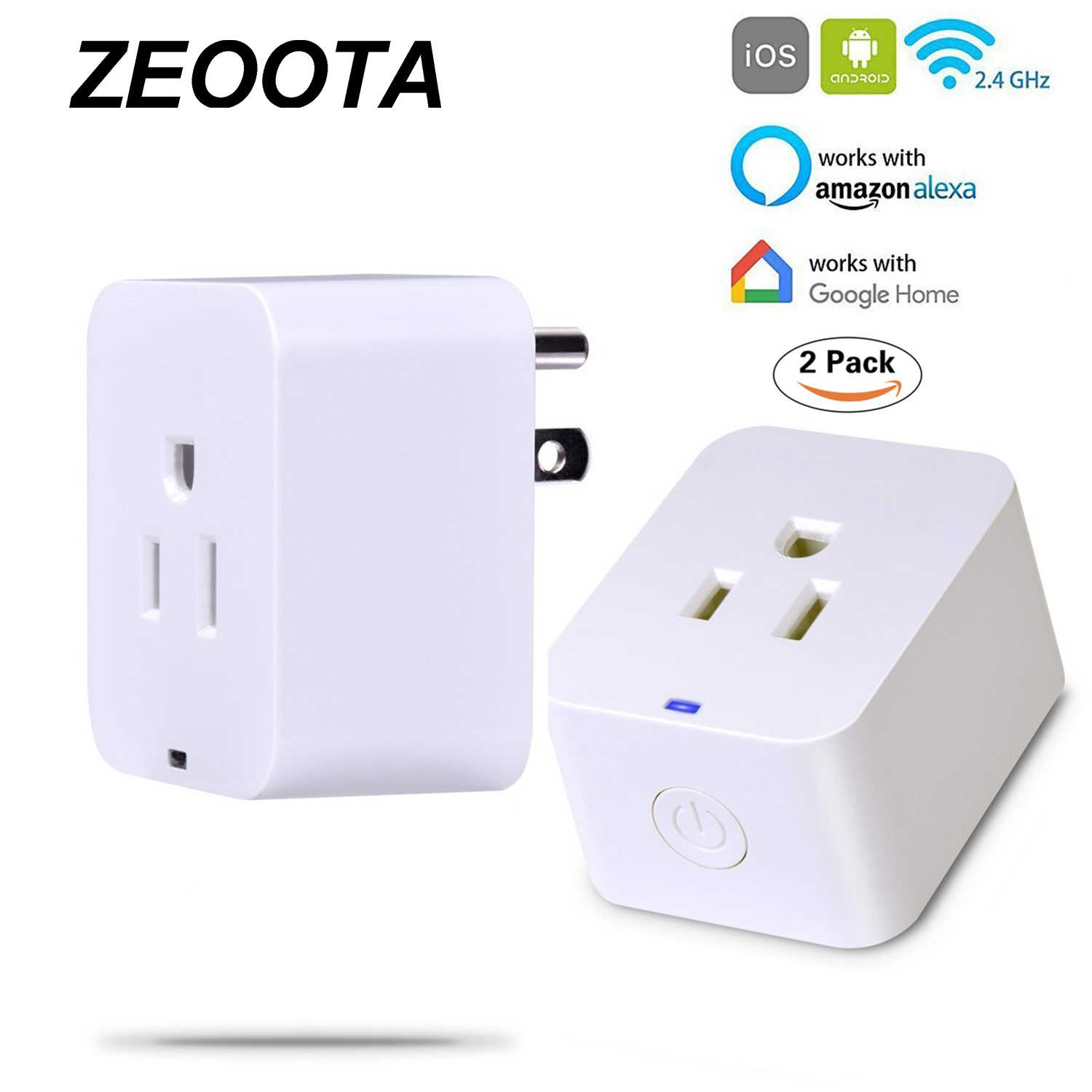 Homekit Compatible Hub Homekit Smart Power Plug Outlet Switch Socket Compatible With Amazon Alexa Google Home No Hub Required Timing Function 2pack