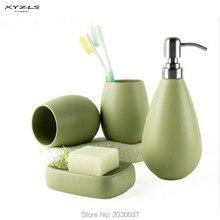 XYZLS 4 шт. керамика матовый сплошной цвет мыло блюдо диспенсер шампунь бутылка стакан аксессуары для ванной комнаты Комплект 5 Clolors доступны