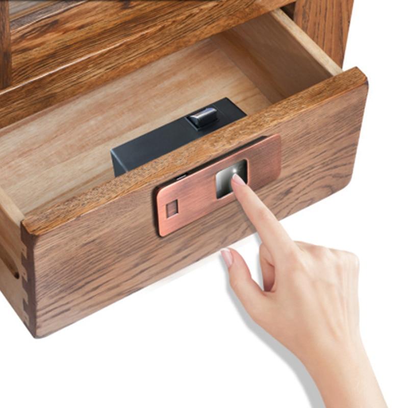 Keyless Mini intelligent Fingerprint cabinet Lock Anti theft biometric cabinet drawer box locker-in Electric Lock from Security & Protection    1