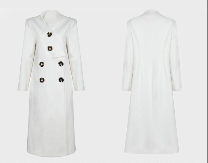 D'hiver Gamme Manteau Cachemire De Veste Et Mode Automne Section Nouveau Outwear 2018 Femme cou Haut Longue V L1373 Bouton Laine PqxpEXwA