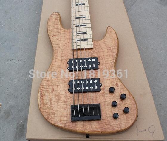 Commercio all'ingrosso della fabbrica di GYJB-5025 colore originale con burl della copertura del grano pick-up attivo 6 string jazz Bass Guitar, Trasporto libero