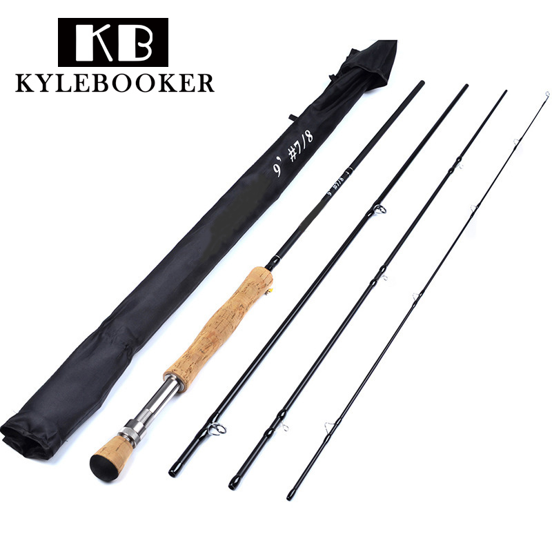 2.7M 4 Section Carbon Fly Fishing Rod Soft Cork Handle Fish Tackle Fly Rod Carbon Fiber Waders Fly Fishing Rods fly fishing combo 5wt 9ft carbon fiber fly rod