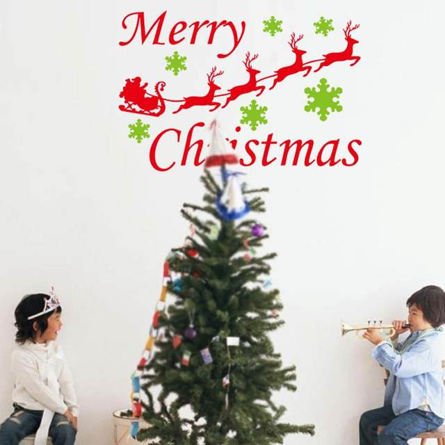 merry christmas snowflake reindeer wall stickers christian room decorations 26 xmas home decals festival mual art posters