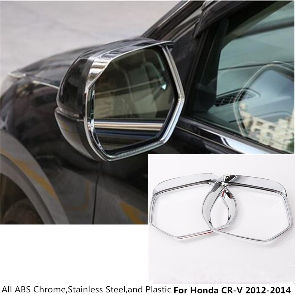 Hot for honda crv cr v 2012 2013 2014 rear rearview side glass mirror trim frame rain shield sun visor shade abs chrome 2pcs