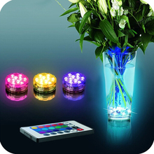 10-LED RGB Submersible MultiColor Waterproof LED Floralyte Tea Light With Remote Control For Wedding Party Supplies