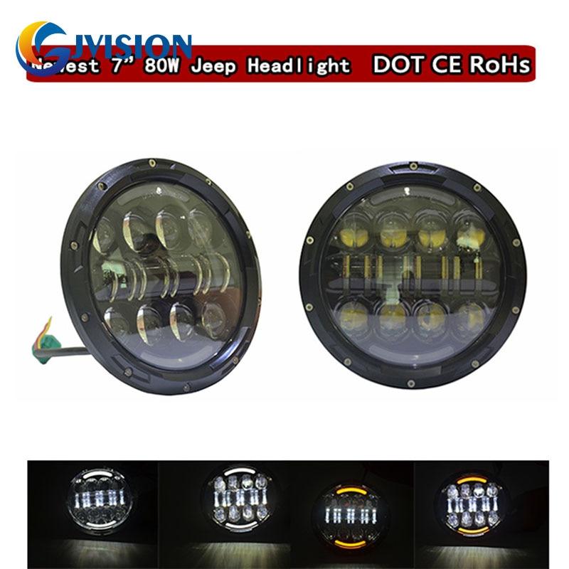 For Harley Davidson motorcycle Round LED 24V 7 inch 80W LED Daymaker Projector headlight for Jeep Wrangler JK CJ Hummer H1 H2