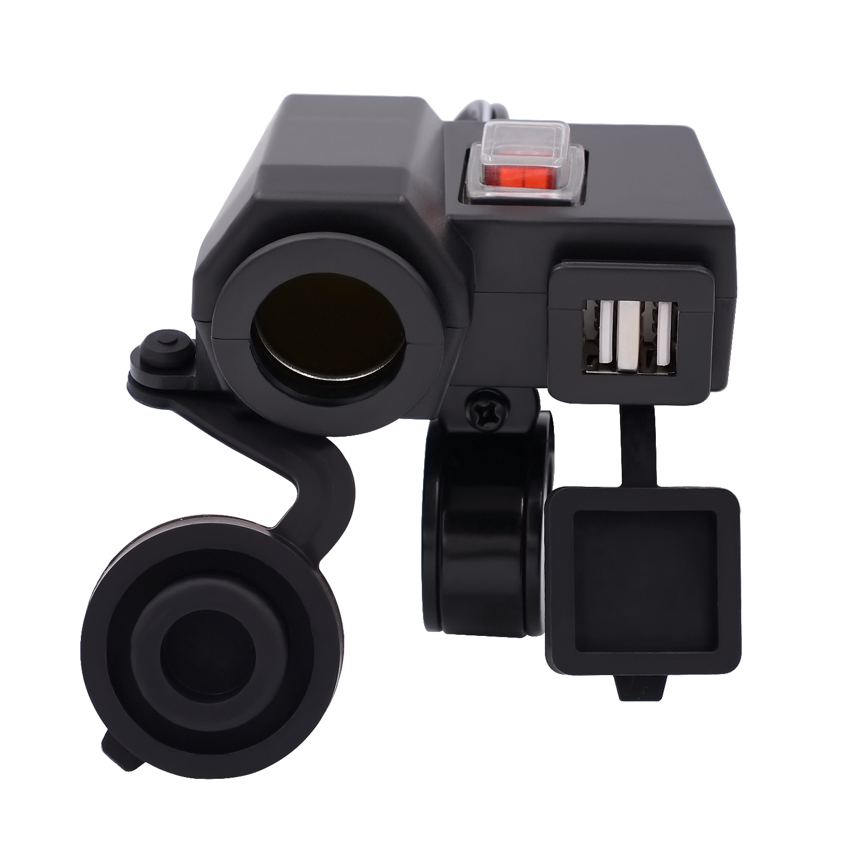 1pcs 6.3/6.7*5*3.8cm 12V 2.1A Black Waterproof Cigarette Lighter Socket Dual USB Socket Adapter&ampLid For Car