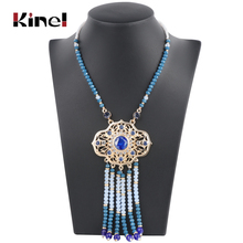 Kinel New Arrived Indian Ethnic Pendant Necklace For Women Fashion Boho Gold Color Long Chain Vintage Wedding Jewelry