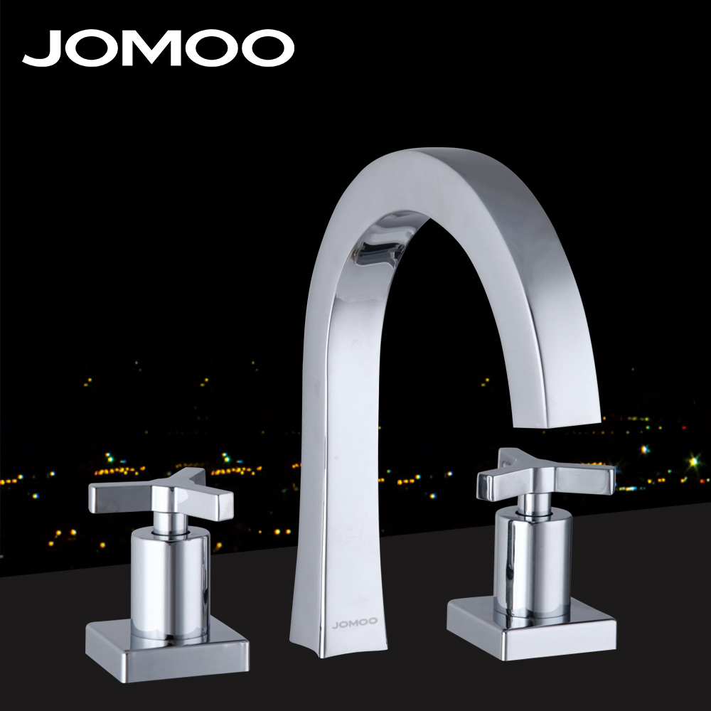 JOMOO Brass Chrome Fission Basin Faucet Two handle Three Holes Bathroom faucet With Cross Handl European-style Water Mixer Tap