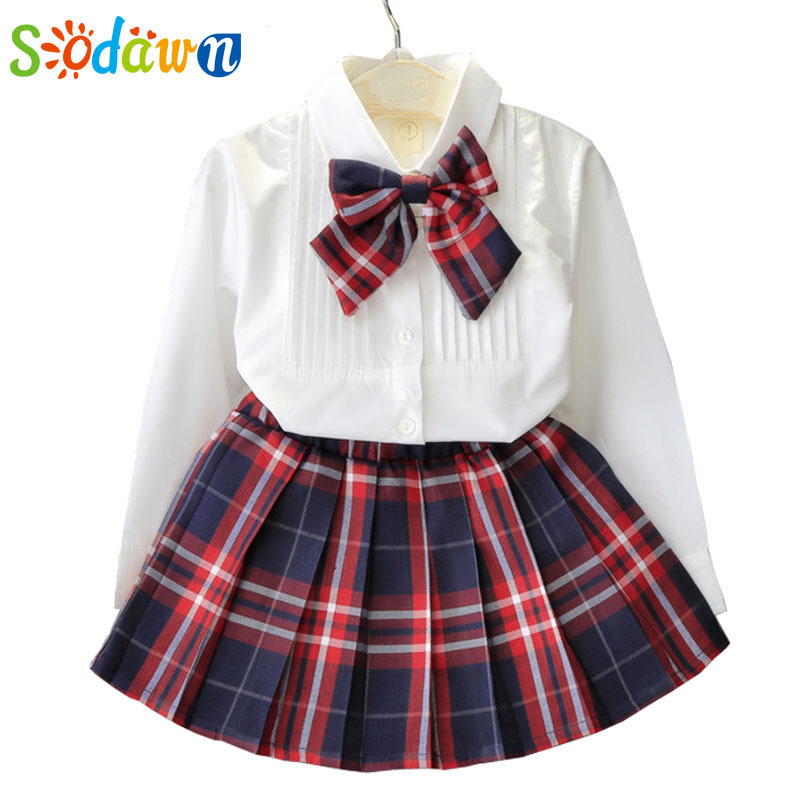 Sodawn Girls Clothing Sets Style Fashion Girls Dress Set White Shirt Top + Plaid Knot Tie+Plaid Mini Skirt 3 Pcs Set Girls Suits