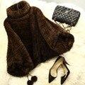 QUEENFUR 2016 New Design Genuine Mink Fur Jacket Para A Moda mulheres de Pele De Vison Real Malha Mink Fur Coat Inverno Natureza Outwear