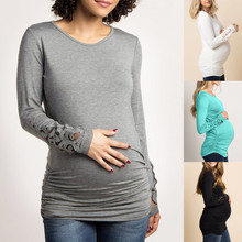 2019 New Women Mom Pregnant clothes blouse ropa de mujer shirtLace Mesh Casual Breastfeeding Nursing Maternity Long Sleeved