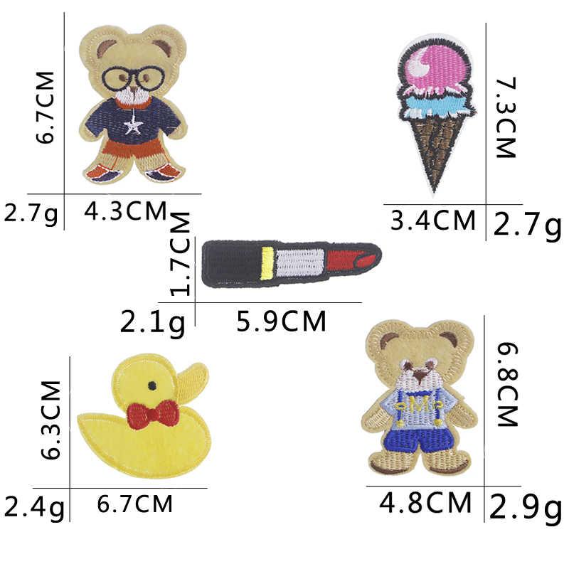 Warna-warni Kain Bordir Gaya Pin Indah Bebek Es Krim Lipstik Pin Kerah Lencana Lucu Lembut Boneka Beruang Rajutan Brooh Lencana
