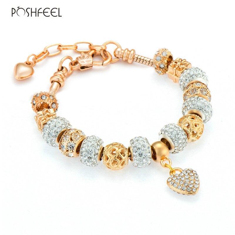 Poshfeel 2017 Fashion Women Gold Bracelet Crystal Heart Charm Bracelets & Bangles Diy Jewelry Female Pulsera Mbr170207