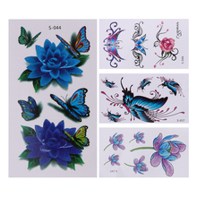 10Pcs 3D Butterfly Flower Printed Temporary Tattoo Stickers Waterproof DIY Body Art Arm Leg Back Neck Decoration Tattoos