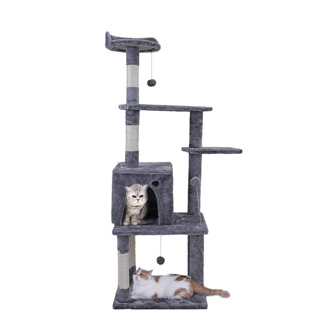 Domestic Delivery 145cm Wood Cat Climbing Jumping Balls Toy Frame Cat Furniture Scratching Tree For Kitten and Large Cat