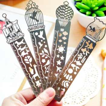 24pcs/lot Korea Zakka Vintage Hollow style stainless steel ruler scale 10cm bookmark DIY tools students' gift prize Stationery - DISCOUNT ITEM  32% OFF All Category