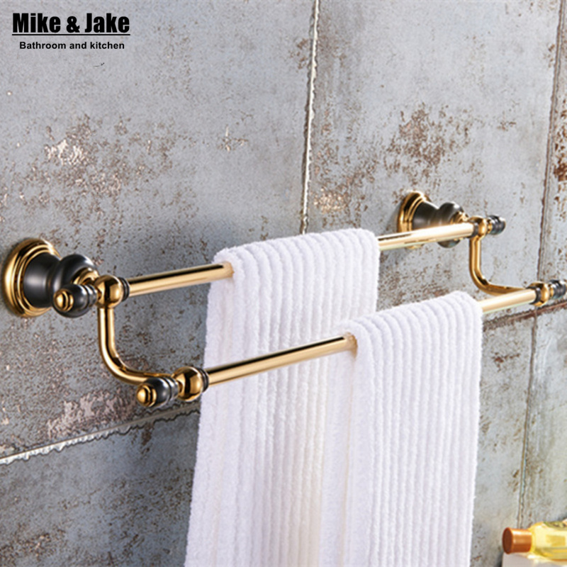 Bathroom Gold double Towel Bar,Towel Holder, Towel rack Solid Brass & copper Made,golden Finish, Bathroom towel shelf free shipping brass & stone golden towel rack gold towel bar towel holder cy008s