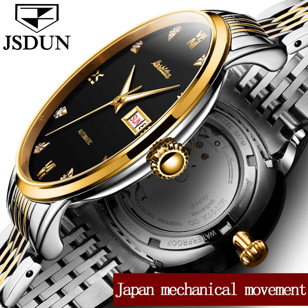JSDUN Luminous Hands Clock Men Automatic Watches Gold Case Diamond Mechanical Wristwatches Skeleton Business Date and Week Watch