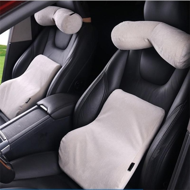 For Volvo Car Neck Pillow Lumbar Cushion Environmental Protection Leather Space Memory Foam