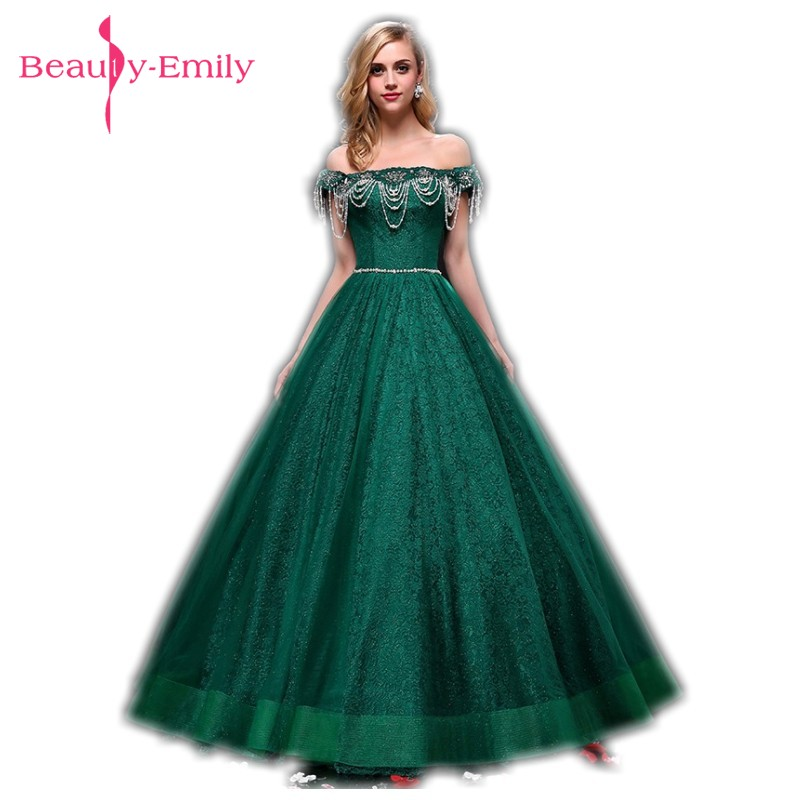 Beauty Emily Green Boat Neck Long Lace Evening Dresses 2018 Ball ...