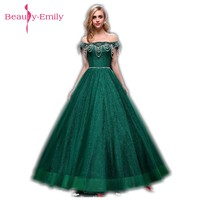 Beauty Emily Green Boat Neck Long Lace Evening Dresses 2018 Ball Gown Sleeveless Lace Up Formal Occasion Party Prom Dresses
