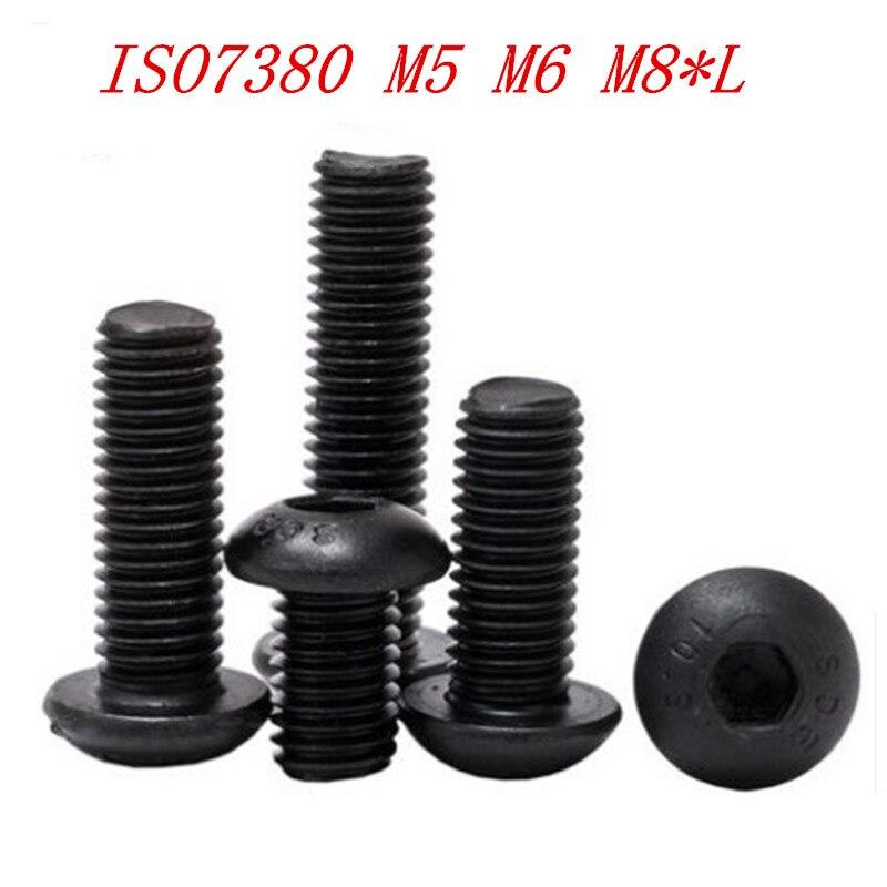 10PCS/5PCS M5 M6 M8*8/10/12/16/20/25/30/35/40/45/50 ISO7380 10.9 Steel With Black Hex Socket Button Round Head Screw