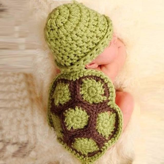 Baby Newborn Turtle Knit Crochet Clothes Beanie Hat Outfit Photo ...
