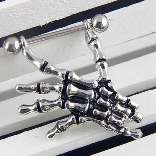 חדש 14G שלד גולגולת יד מגן הפטמה בר סקסי טבעת Creative פאנק גוף תכשיטי 64P2