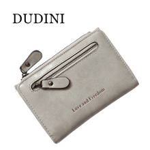 DUDINI Women Short Wallets PU Leather Female Plaid Purses Nubuck Card Holder Wallet Fashion Woman Small Letter Zipper Wallet