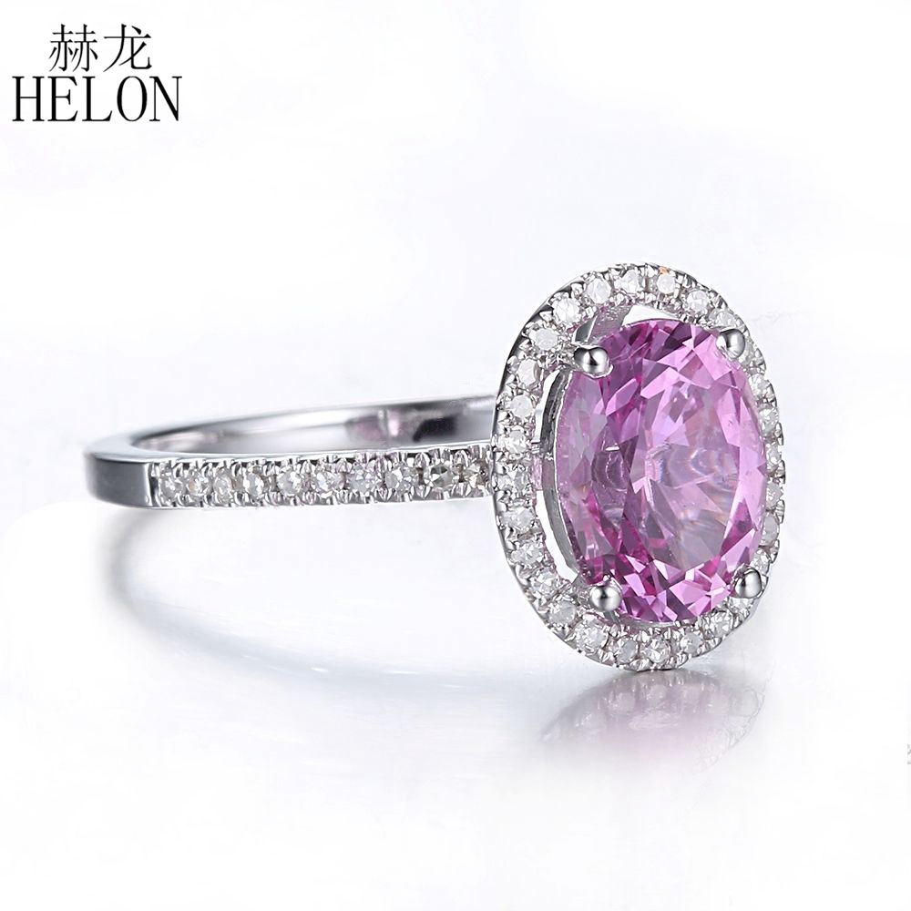 HELON Oval Cut 8x6mm Pink Topaz Gemstone Ring Sterling Silver 925 Natural Diamond Elegant Women Jewelry Engagement Wedding Ring helon sterling silver 925 flawless 11x9mm emerald cut 4 36ct real blue topaz natural diamond engagment wedding ring fine jewelry