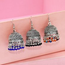 Wedding Earring For Bride Thailand Resin Bead Drop indian Earrings jhumka Antique Silver Oorbellen Afghan Ethnic Turkish Jewelry(China)