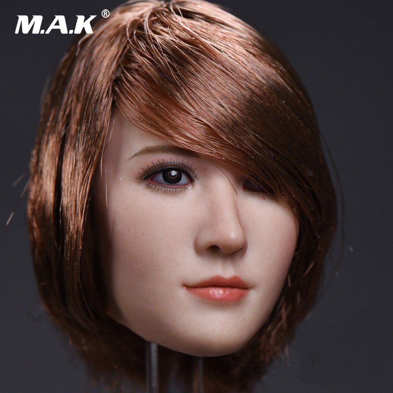 TOYS 1:6 Scale Beauty Female Short Red Wine Color Head Sculpt Fit 12 PH Female pale Colo Body Action Figure Doll 1 6 female head for 12 action figure doll accessories marvel s the avengers agents of s h i e l d maria hill doll head sculpt