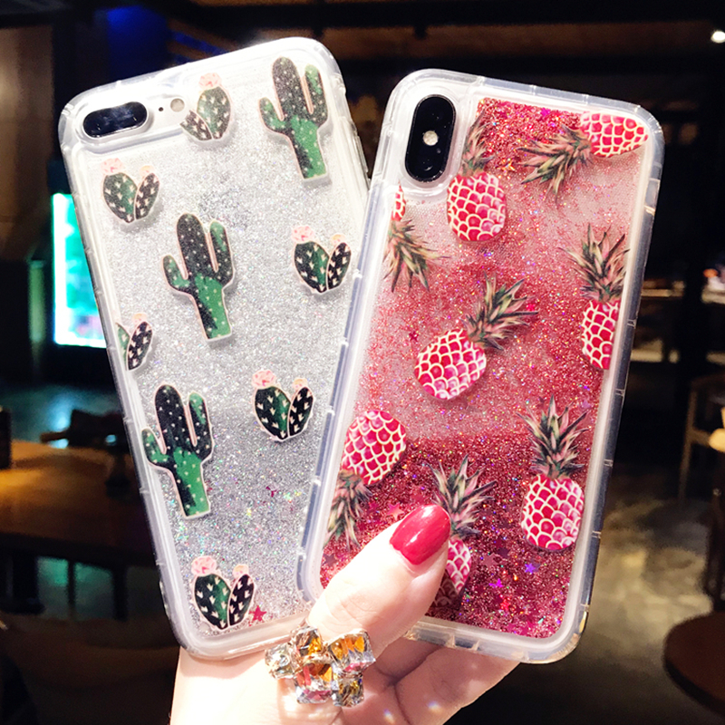 Bling Glitter Dynamic Cactus Pineapple Liquid Quicksand Clear Back Cover  For iPhone 6 6S Case For iPhone X 6S 7 8 Plus Case Capa 7fa801aab9ab