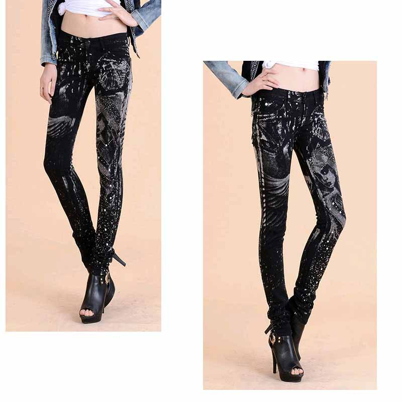 New Fashion jeans woman Casual Black Pencil jean pants Girl drilling printing Pattern jeans Skinny Long womens Capris Female 5