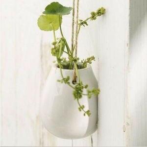 Image 3 - 2019 neueste Heiße Keramik Anlage Hängenden Korb Pflanzer Blumentopf Glühbirne Vase Wohnkultur + Jute Seil