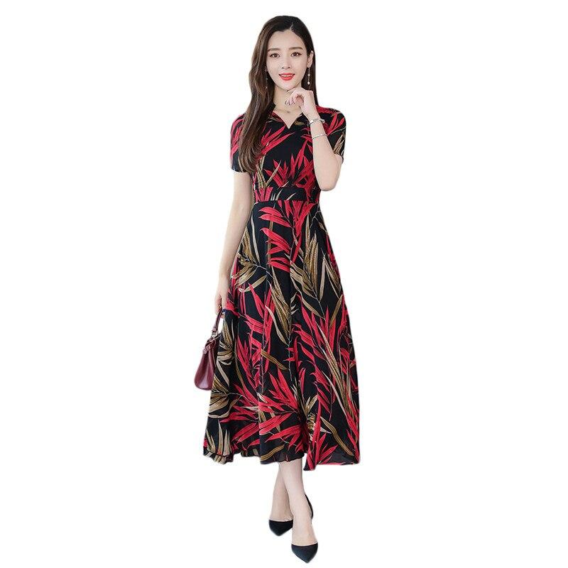 US $26.46 45% OFF|Summer Dress Women Yellow Red Blue Print 2XL 3XL Plus  Size Chiffon Dresses 2019 New Korean Office Short Sleeve Maxi Dress  LD1058-in ...