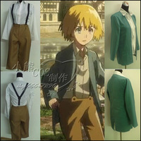Hot Selling Attack on Titan COS Childhood Armin Arlart cosplay Costumes Full Set for Women Coat+Shirt+Bib Pants