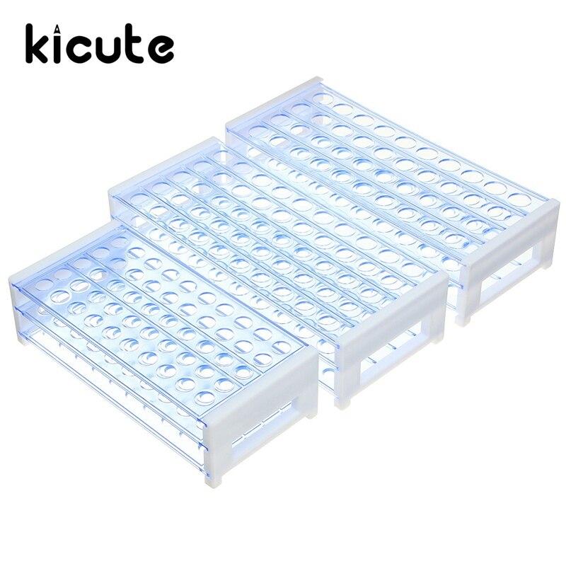 цена на Kicute Newest Plastic Test Tube Rack Stand Bracket for 8-18MM Test Tubing Racks for Centrifuge Tubes 40 or 50 Holes Positions