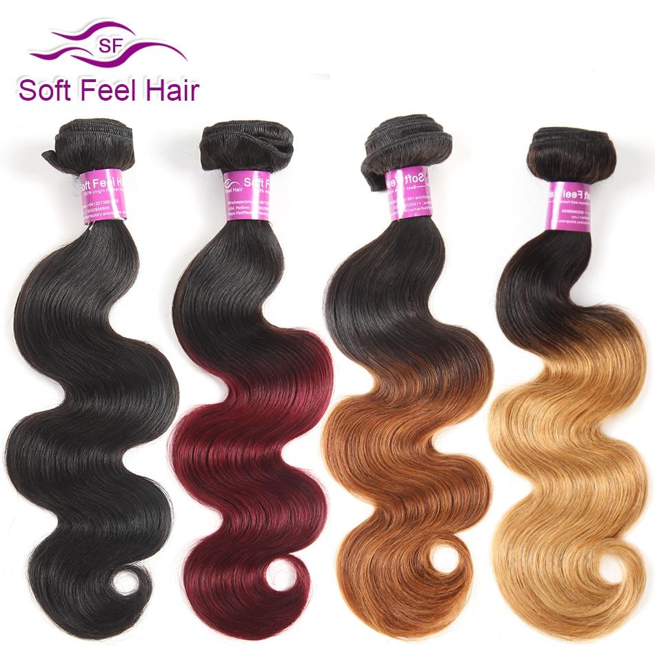 Soft Feel Hair Ombre Hair Bundles Brazilian Body Wave Bundles 99J Blonde Ombre Human Hai ...