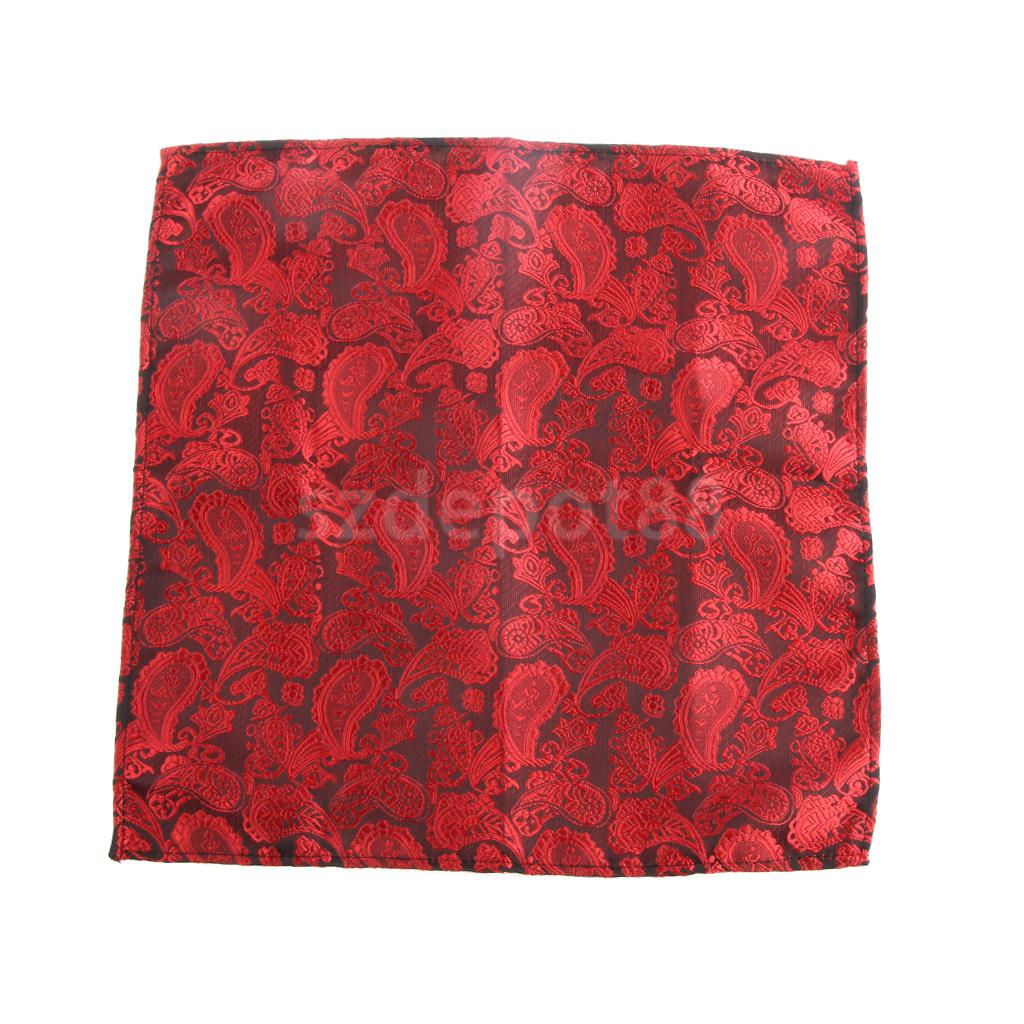 Men's Peiris Pattern Pocket Square Hankie Hanky Handkerchief Black And Red
