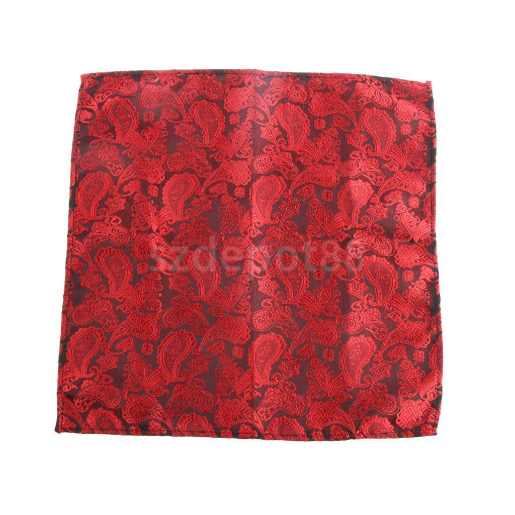 Men's Peiris Pattern Pocket Square Hankie Hanky Handkerchief Black And Red