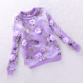 Fashion girl pink sweater lavender yellow new autumn sweatshirt baby girl