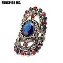 Bague de mariage ethnique bohème pour femmes, Vintage, grand cristal coloré, ajouré, fleur, bijoux turcs, cadeaux de Festival, bonne affaire